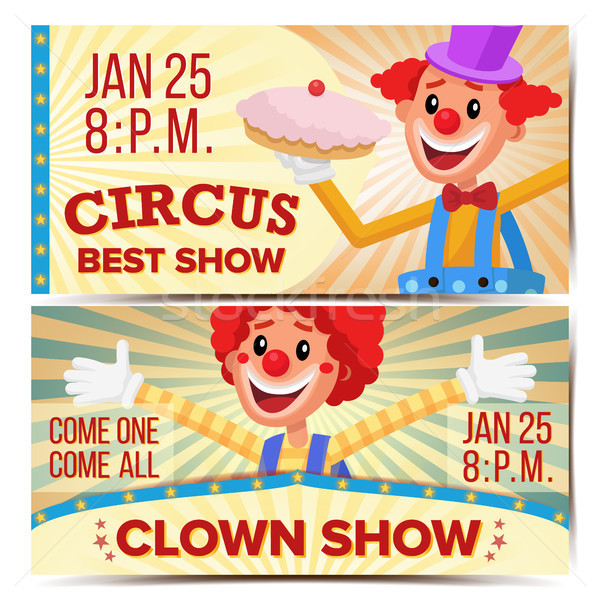 Circus Clown Horizontal Banners Template Vector. Great Circus Show Concept. Amusement Park Party. Ca Stock photo © pikepicture