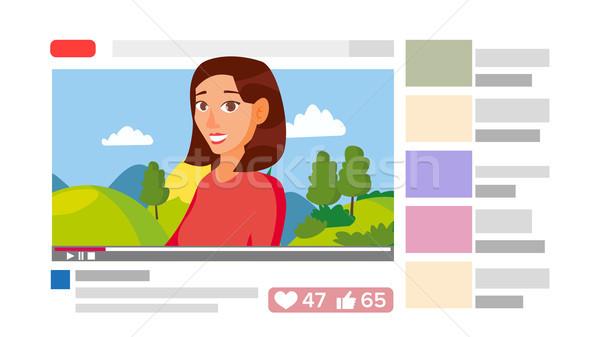 девушки ведущий онлайн потока канал интернет Сток-фото © pikepicture