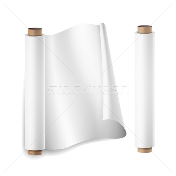Baking Paper Roll Vector. Close Up Top View. Opened And Closed. Parchment For Baking Culinary. Reali Stock photo © pikepicture