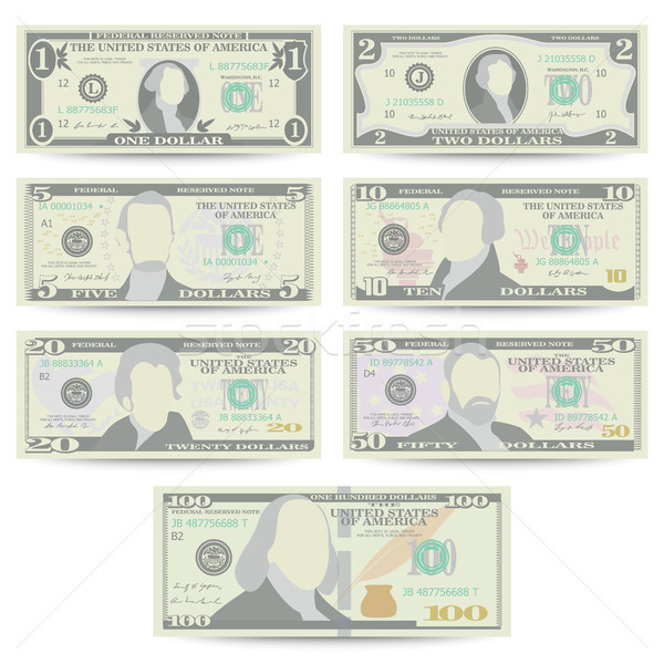 Dollars Banknote Set Vector. Cartoon Stock photo © pikepicture