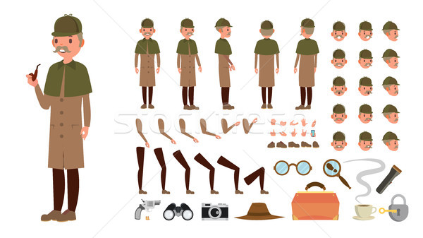 Detective Vector. Animated Tec Character Creation Set. Snoop, Shamus, Spotter Full Length, Front, Si Stock photo © pikepicture