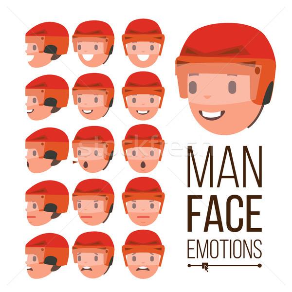 Man emoties vector knap gezicht verschillend Stockfoto © pikepicture