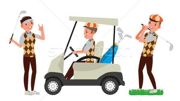 Golfozó férfi vektor golflabda játszik férfi Stock fotó © pikepicture