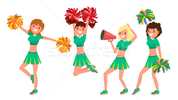 Cheerleading Team Vector. In Action. Sport Fan Dancing. Posing With Pompoms. Raising Hands Up. Compe Stock photo © pikepicture