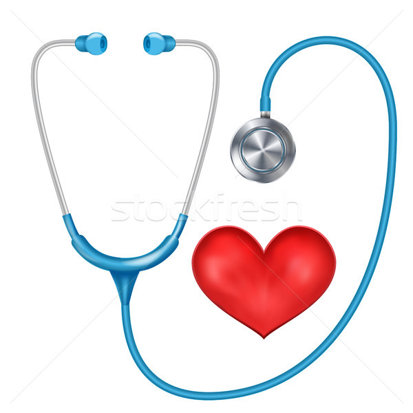 Realistic Stethoscope Isolated Vector. Medical Equipment. Red Heart. Illustration Stock photo © pikepicture