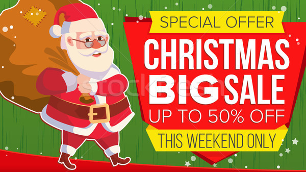 Christmas Sale Banner With Santa Claus Vector. Discount Up To 50 Off. Marketing Advertising Design I Stock photo © pikepicture