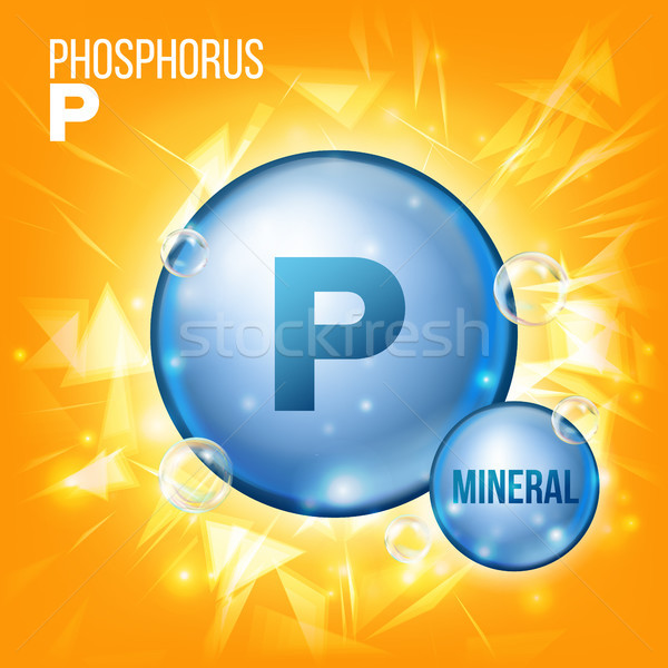 P Phosphorus Vector. Mineral Blue Pill Icon. Vitamin Capsule Pill Icon. Substance For Beauty, Cosmet Stock photo © pikepicture