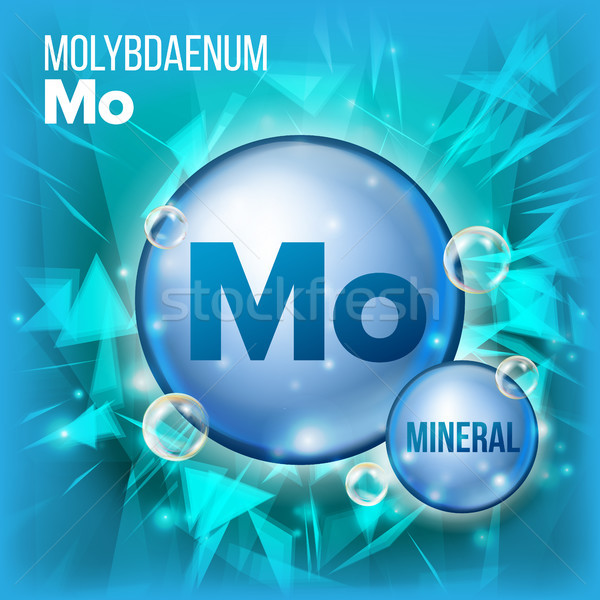 Mo Molybdaenum Vector. Mineral Blue Pill Icon. Vitamin Capsule Pill Icon. Substance For Beauty, Cosm Stock photo © pikepicture