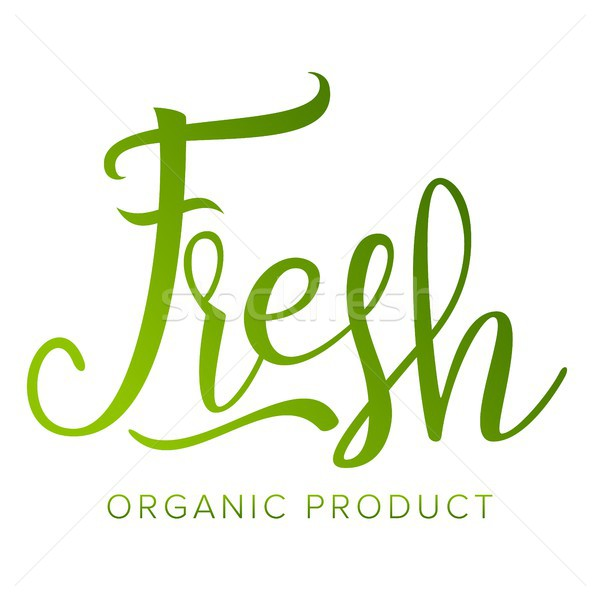 Fresh Food Sigh Vector. Healthy Life. Eco. Stamp. Tag, Label, Emblem. Handmade Calligraphy. Farmers  Stock photo © pikepicture