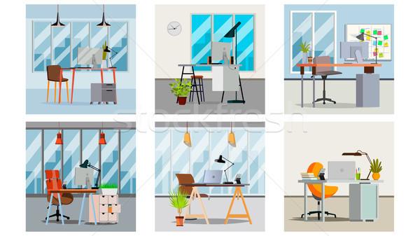 Stok fotoğraf: Ofis · iç · vektör · oda · mobilya · dizayn
