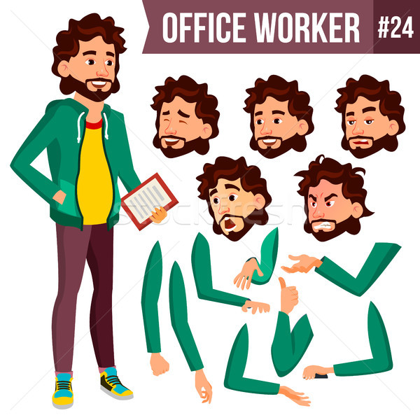 Office Worker Vector. Animation Creation Set. Adult Business Male. Successful Corporate Officer, Cle Stock photo © pikepicture