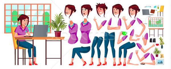 Kantoormedewerker vector vrouw gelukkig dienaar werknemer Stockfoto © pikepicture