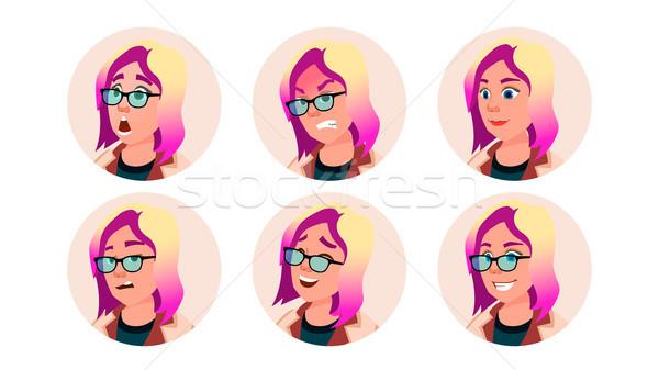 Avatar ikon nő vektor képregény arc Stock fotó © pikepicture