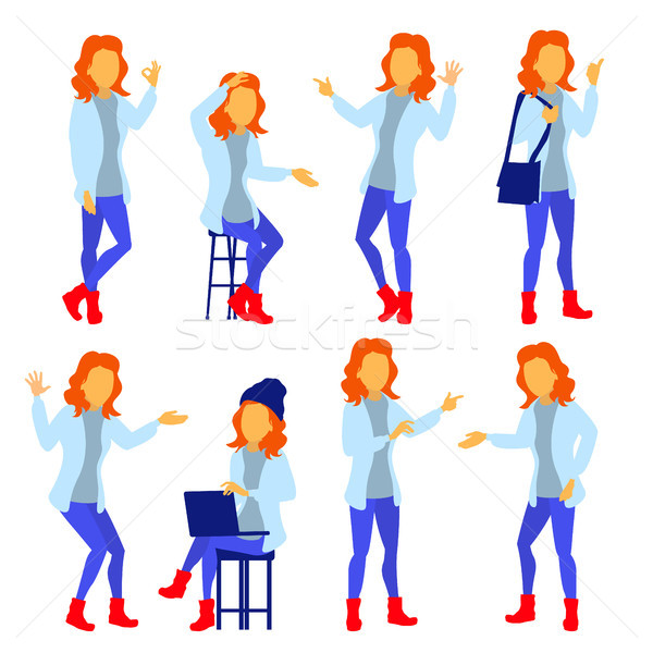 Woman Set Vector. Modern Gradient Colors. People Different Poses. Creative People. Design Element. I Stock photo © pikepicture