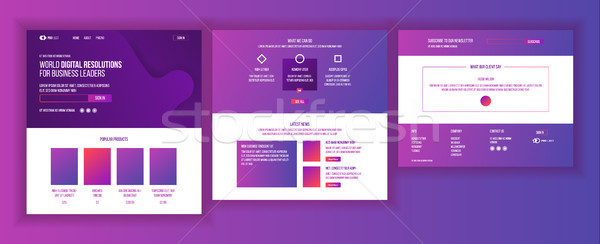 Website Template Vector. Page Business Project. Landing Web Page. Technical Online Support. Design E Stock photo © pikepicture