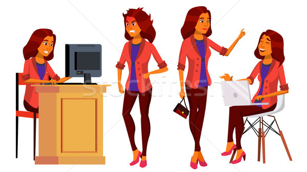 Office Worker Vector. Woman. Modern Employee, Laborer. Business Woman. Arab, Saudi Face Emotions, Va Stock photo © pikepicture
