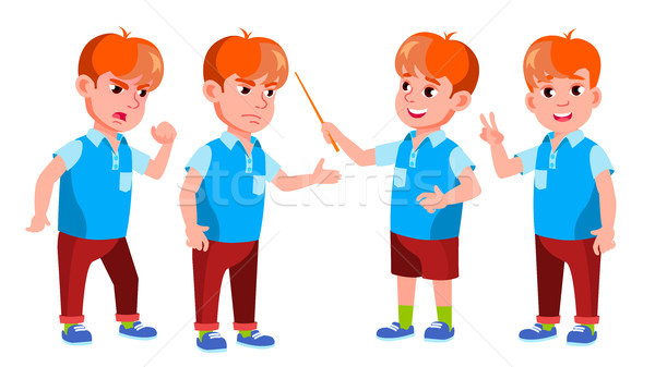 Boy Schoolboy Kid Poses Set Vector. Primary School Child. Cute Child. Happiness Enjoyment. Cheer, Pr Stock photo © pikepicture