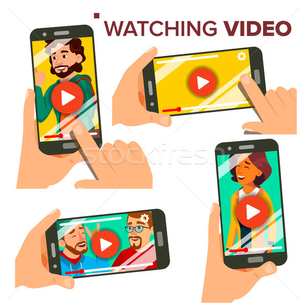 Watching Video On Smartphone Vector. Set. Mobile Phone. Red Play Symbol Button. Video Media Player A Stock photo © pikepicture