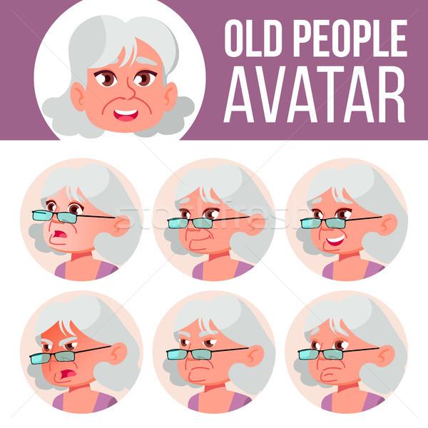 öregasszony avatar szett vektor arc érzelmek Stock fotó © pikepicture