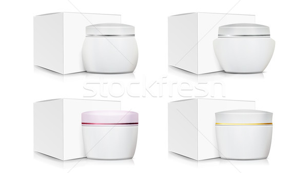 Cream Jar Packaging Template Set Vector. White Paper Or Cardboard Box. Organic Product Design. Blank Stock photo © pikepicture