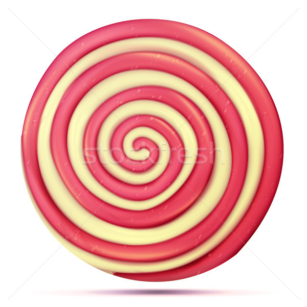 Classic Lollipop Isolated Vector. Round Red, Yellow. Realistic Spiral Illustration. Classic Bright X Stock photo © pikepicture