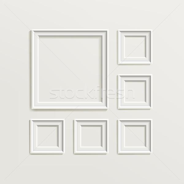 Fotolijstje sjabloon ingesteld galerij interieur lege Stockfoto © pikepicture