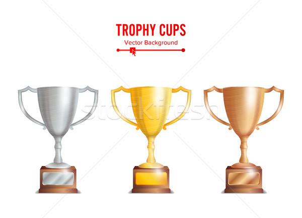 Trofeo coppe set bronzo argento Foto d'archivio © pikepicture