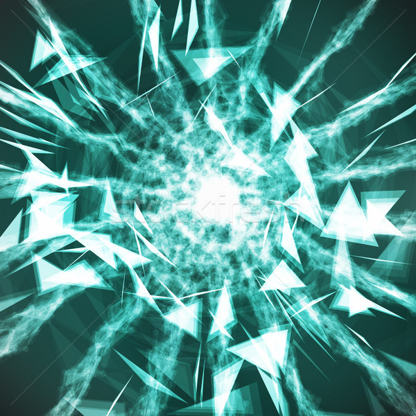 Digital Abstract Background With Glowing Halftone, Flying Debris. 3D Vector Illustration. Global Net Stock photo © pikepicture