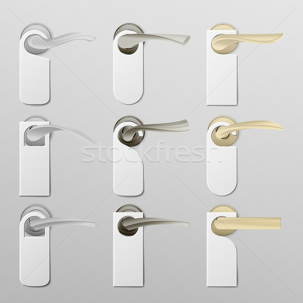 Stock photo: Metal Door Handle Lock with Hanger