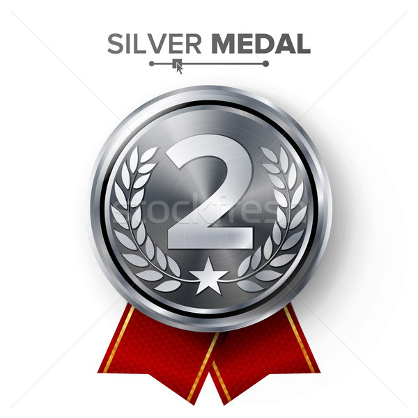 Silver 2st Place Medal Vector. Metal Realistic Badge With Second Placement Achievement. Round Label  Stock photo © pikepicture