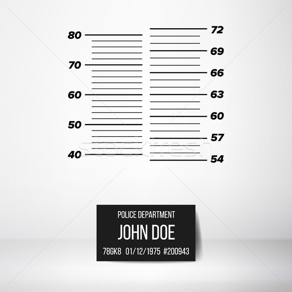 Police Wall Lineup Metrical Imperial. Prison Background Template. Vector Illustration Stock photo © pikepicture
