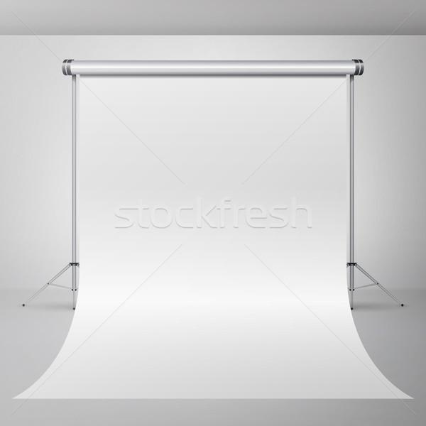 Stock fotó: Fotó · stúdió · vektor · üres · fehér · vászon