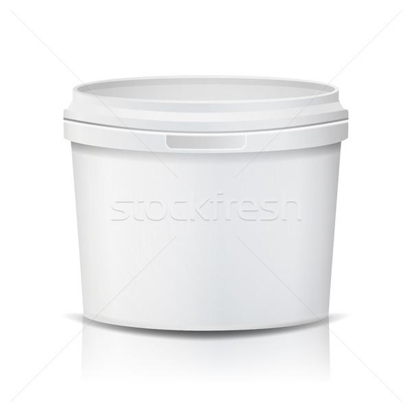 Plastic Bucket Vector. Realistic. Empty Clean. White Plastic Bucket For Dessert, Yogurt, Ice Cream,  Stock photo © pikepicture