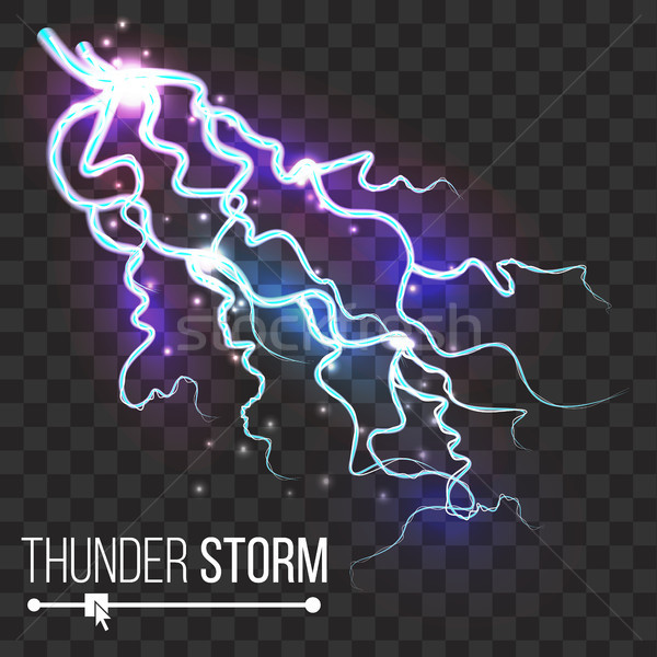 Thunder Storm Vector. Lightning Thunderbolt Isolated On Transparent Background. Electricity Effect I Stock photo © pikepicture