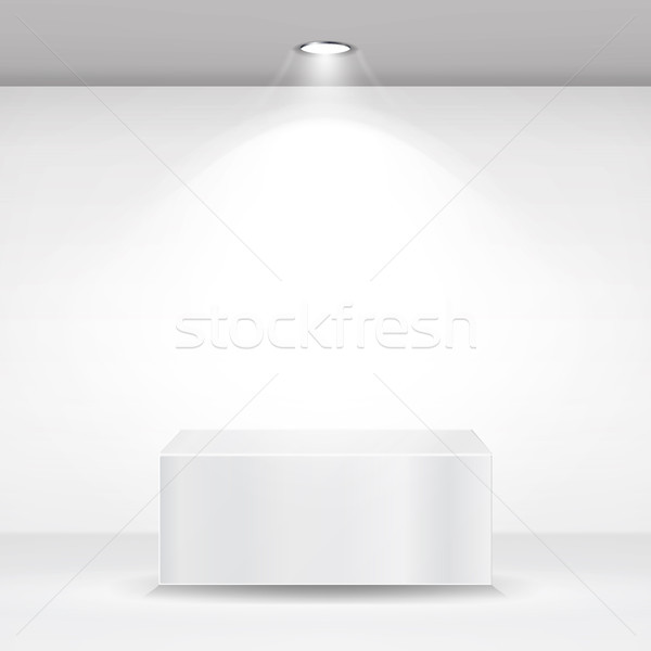 White Square Podium, Stand, Pedestal Or Platform. Empty White Interior Background. Vector Illustrati Stock photo © pikepicture