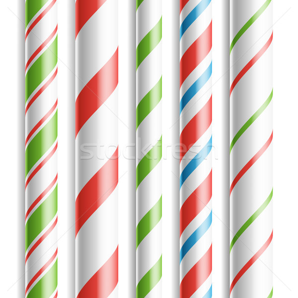 Christmas Candy Cane Vector. Horizontal Seamless Pattern Isolated On White. Good For Christmas Card  Stock photo © pikepicture