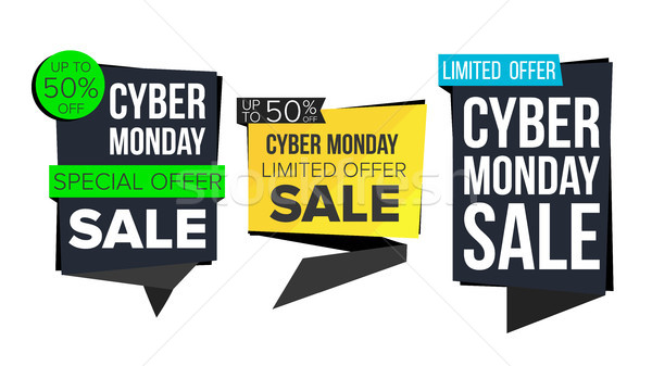 Cyber Monday Sale Banner Collection Vector. Online Shopping. Website Stickers, Cyber Web Page Design Stock photo © pikepicture