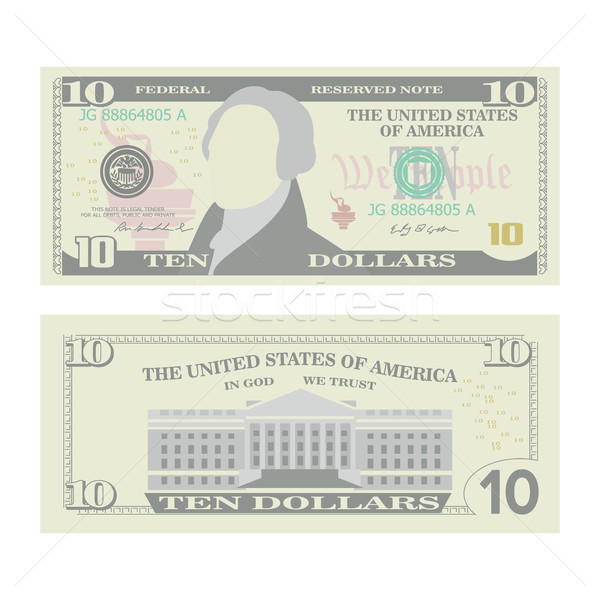 10 dollar bankbiljet vector cartoon valuta Stockfoto © pikepicture