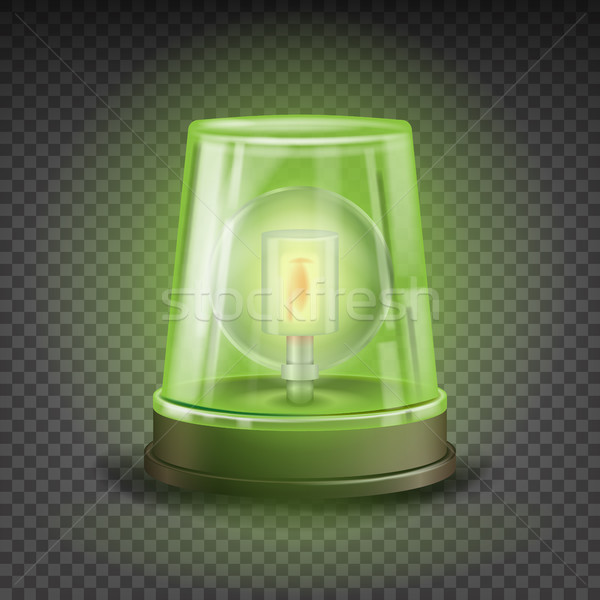 Green Flasher Siren Vector. Realistic Object. Light Effect. Rotation Beacon. Warning And Emergency F Stock photo © pikepicture