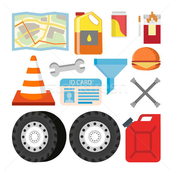 Driver Items Set Vector. Automobile Objects Accessories. Map, Oil, Soda, Cigarettes, Road Cone, Wren Stock photo © pikepicture