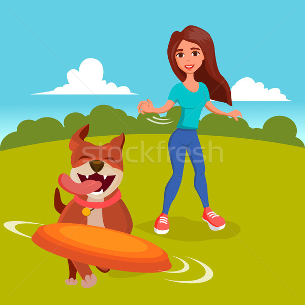 Dog Walker Vector. Walking With Pets. Go For A Walk. Flat Cartoon Illustration Stock photo © pikepicture