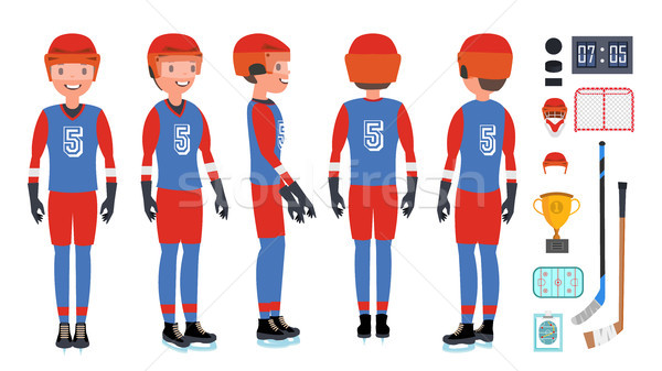 Professional Ice Hockey Player Vector. Set Players Silhouettes. Winter Sport. Isolated Flat Cartoon  Stock photo © pikepicture