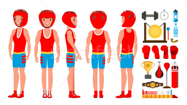 Professional Boxer Boxing Vector. Boxer Champion On Arena. Different Poses. Isolated Flat Cartoon Ch Stock photo © pikepicture