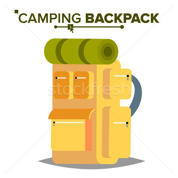 Hiking Backpack Vector. Tourist Hiking Back Pack With Sleeping Bag. Camping And Mountain Exploring.  Stock photo © pikepicture