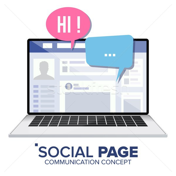 Stockfoto: Sociale · pagina · laptop · vector · social · media