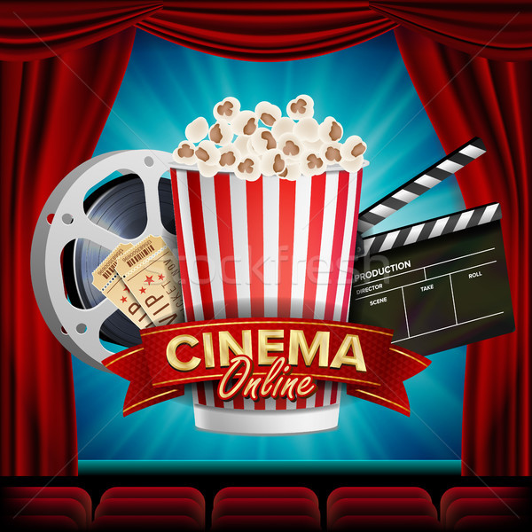 Online Cinema Banner Vector. Realistic. Film Industry Theme. Box Of Popcorn, Elements Of The Movie T Stock photo © pikepicture