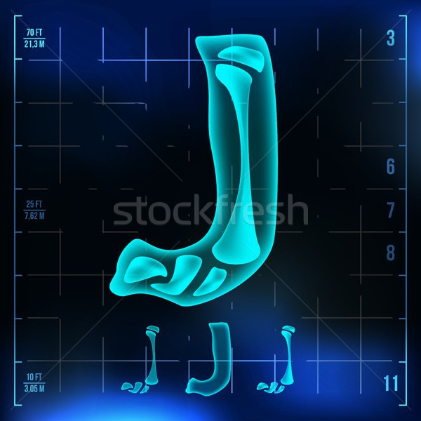 J Letter Vector. Capital Digit. Roentgen X-ray Font Light Sign. Medical Radiology Neon Scan Effect.  Stock photo © pikepicture