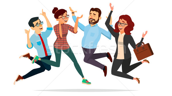 Business People Jumping Vector. Celebrating Victory Concept. Attainment. Entrepreneurship, Accomplis Stock photo © pikepicture