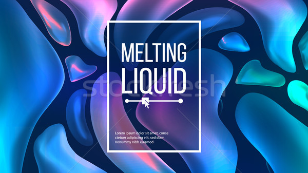 Fluid Liquid Background Vector. Trendy Cover. Liquid 3D Gradient Fluid Shapes Drops. Chemical Illust Stock photo © pikepicture
