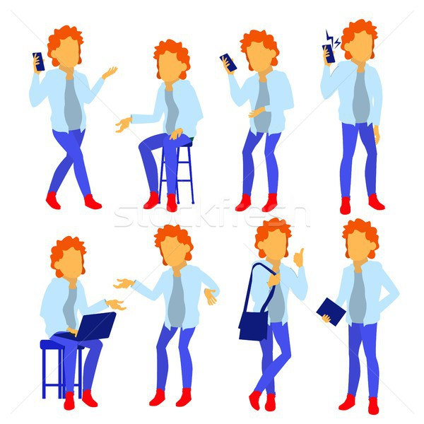 Man Set Vector. Modern Gradient Colors. People Different Poses. Creative People. Design Element. Iso Stock photo © pikepicture